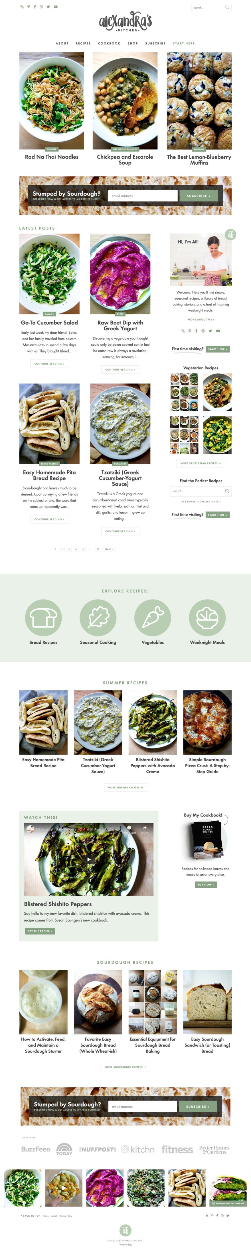 Screenshot of AlexandraCooks.com Homepage