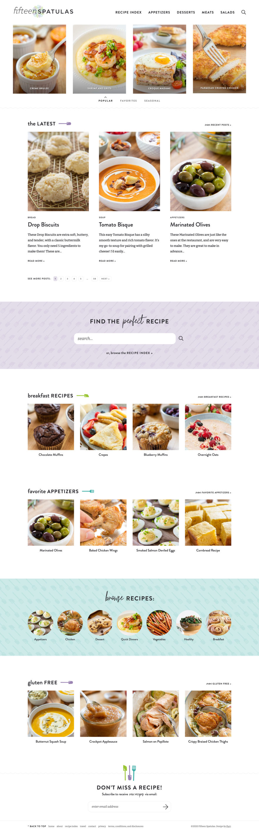 Fifteen Spatulas homepage screenshot