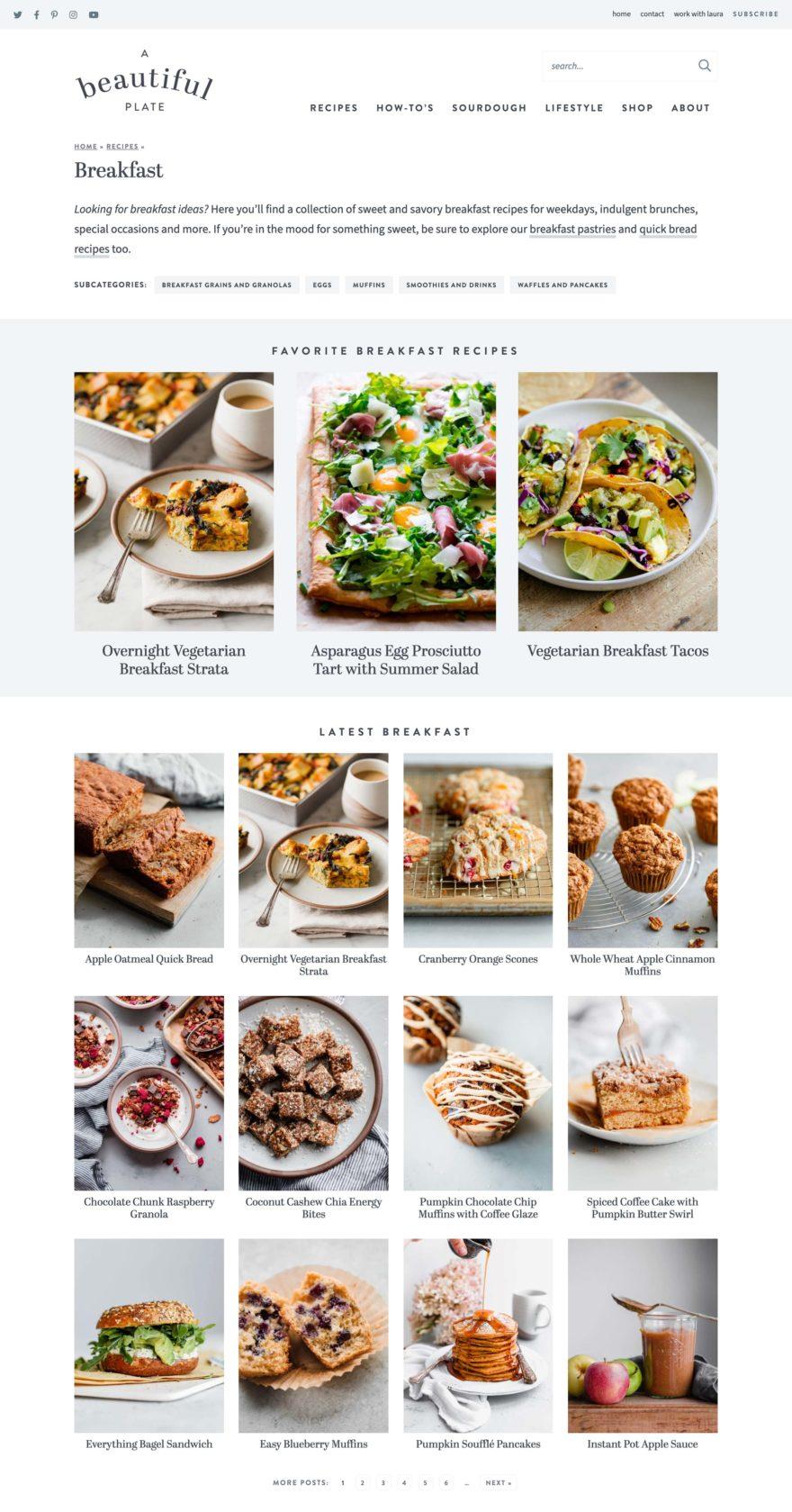 A Beautiful Plate category landing page screenshot