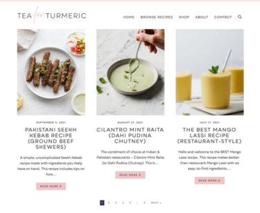 Tea for Turmeric homepage screenshot
