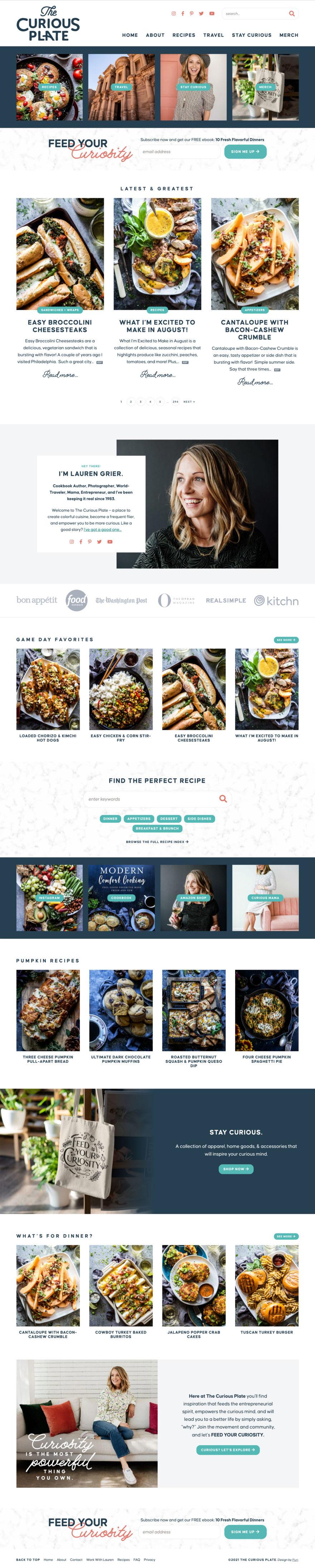 The Curious Plate homepage screenshot