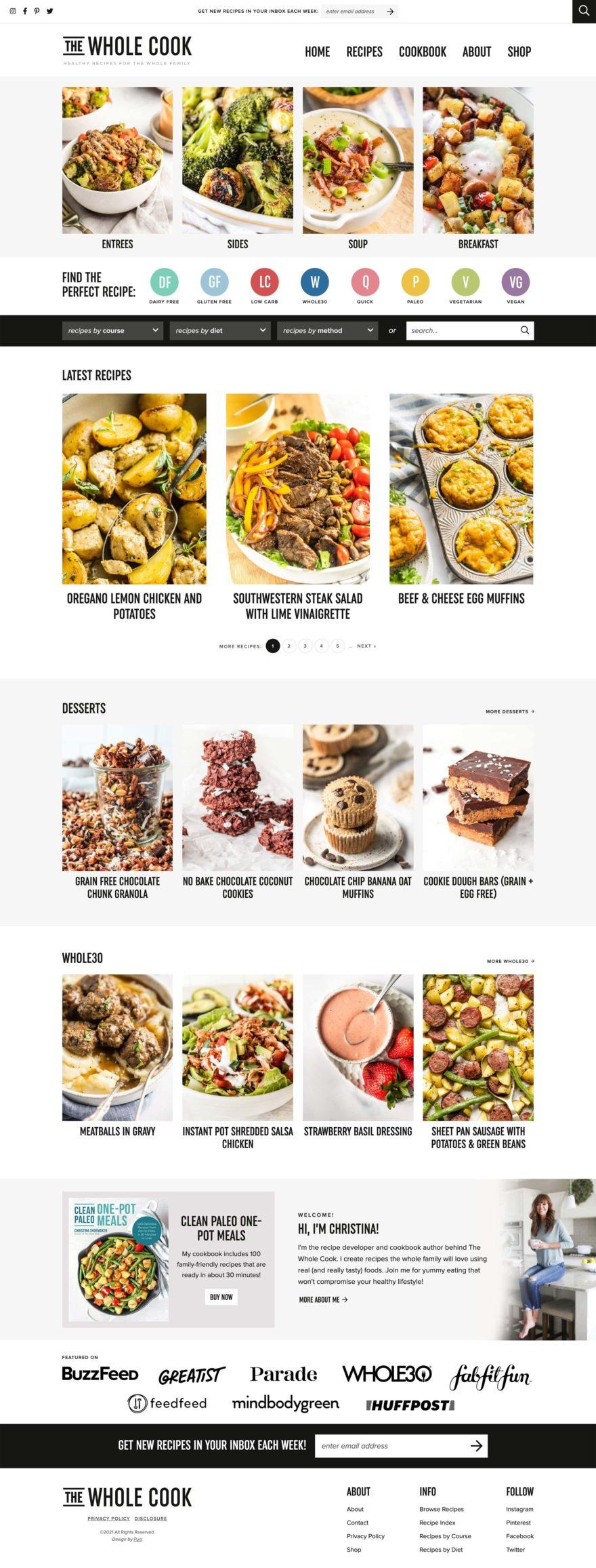 The Whole Cook full homepage screenshot